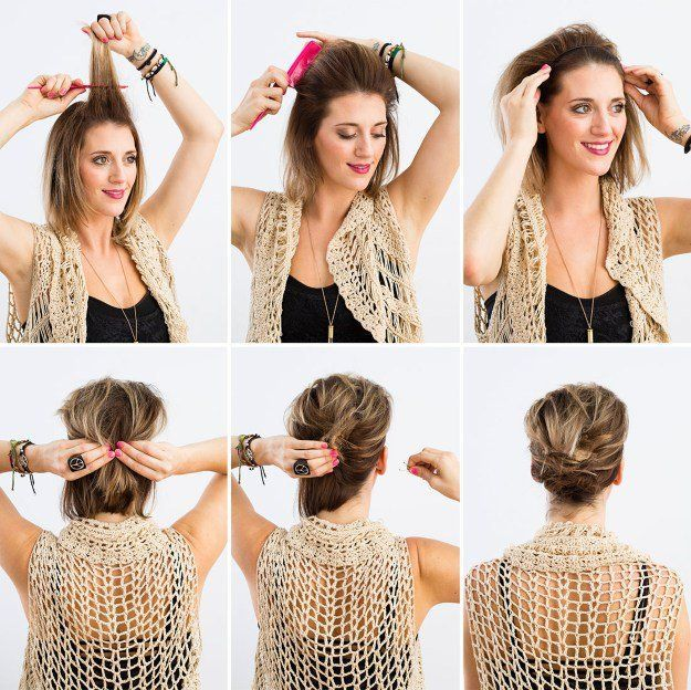 Фото причесок для коротких волос своими руками 3