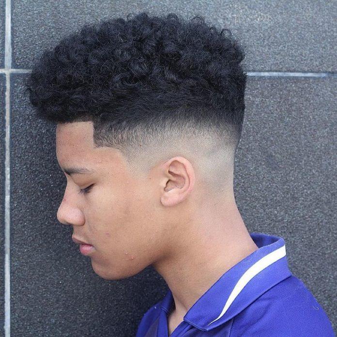 High fade haircut curly