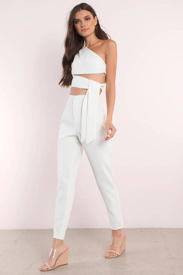 "d59dd6bc8d3a Search ""Destiny Ivory One Shoulder Jumpsuit Set"" on Tobi.com! all white  outfit white party what to wear jumpsuit cutout one shoulder crop top self  tie wrap ..."