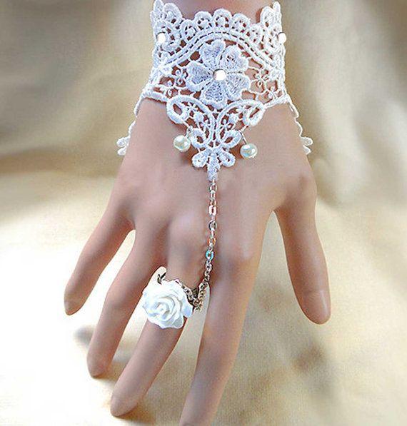 1 piece of fingerless Bridal wedding ivory vintage lace Slave Ring Chain Bracele...