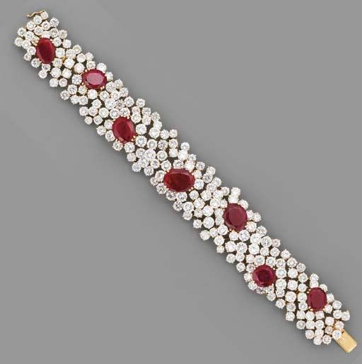 A RUBY AND DIAMOND BRACELET, BY CHANTECLER | Vintage Style Rings