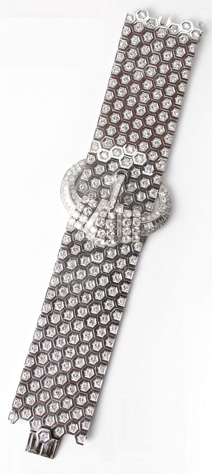 An impressive Art Deco platinum and diamond belt bracelet, probably French, circ...