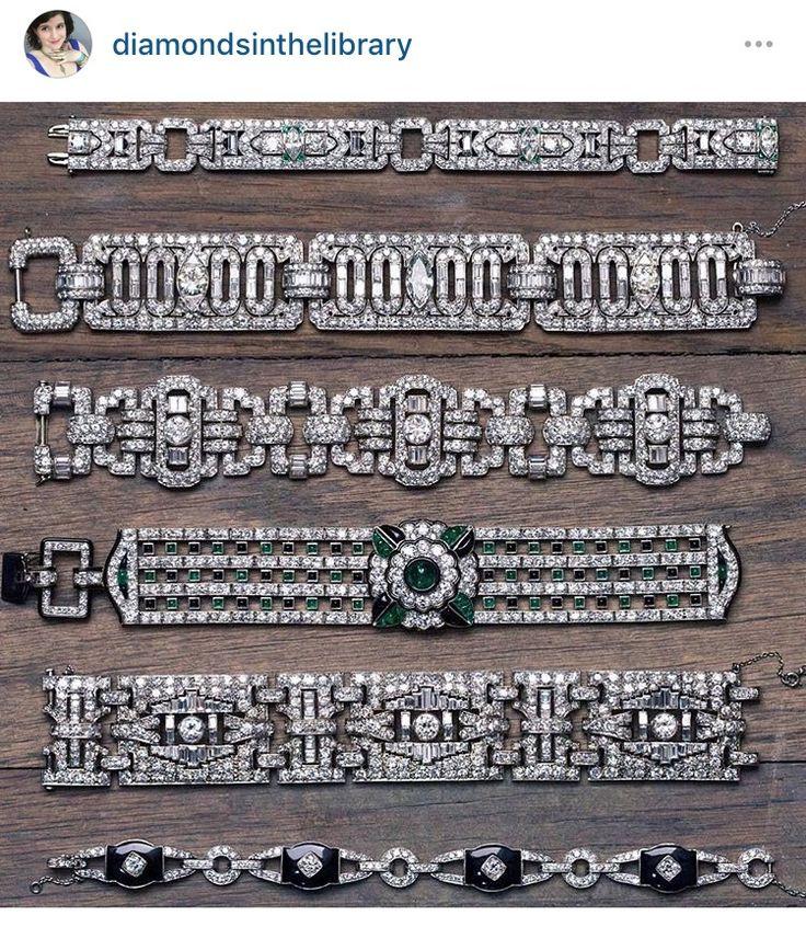 "Becky Stone  on Instagram: ""Had to regram this from @joganibh because holy Art Deco bracelets, Batman.  #jewelryboxgoals #antiquejewelry #diamonds #jewelry #ArtDeco…"""