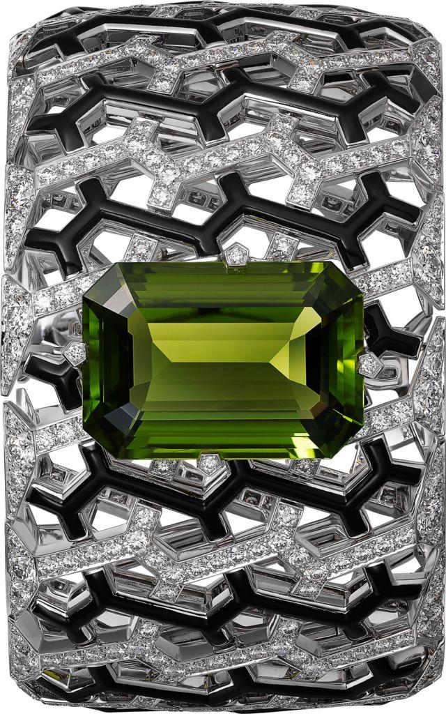 Cartier High Jewelry bracelet, white gold, peridot, black enamel, diamonds...