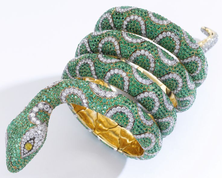 Emerald and diamond bracelet, 'Snake', Michele della Valle The articulat...