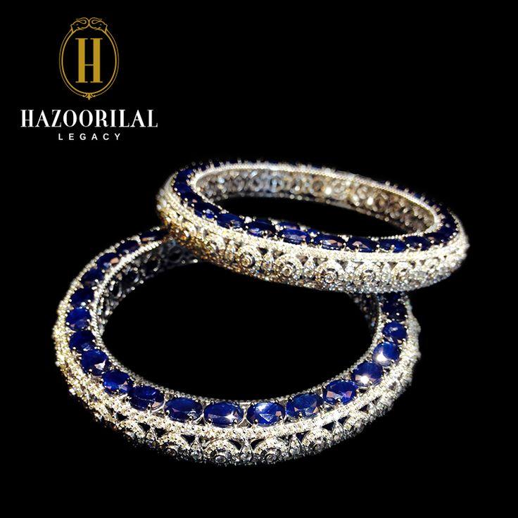 Hazoorilal jewellery: bangles set in sapphire and diamond....