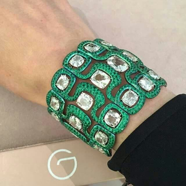 Insanely gorgeous Titanium Bangle with Old-cut diamonds and Emeralds by #glennsp...