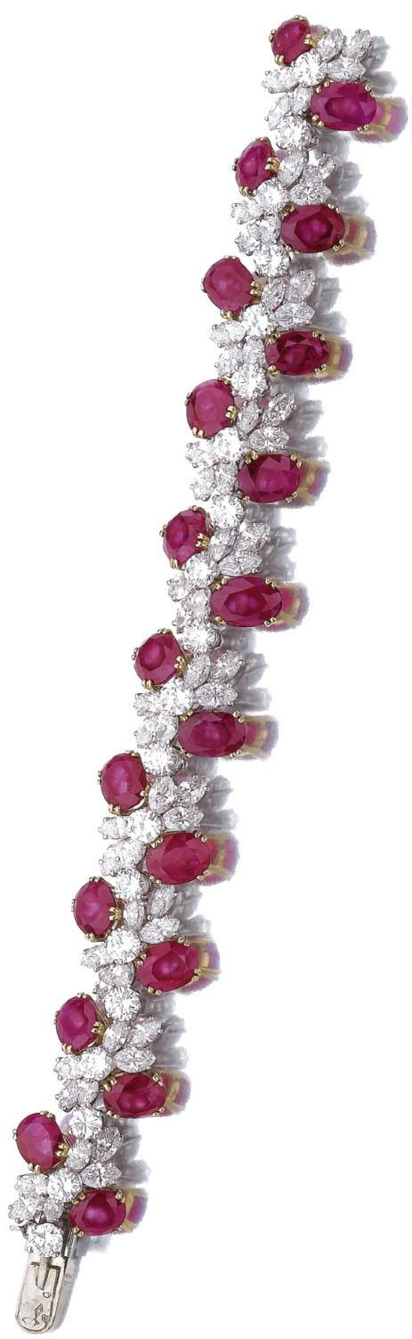 Ruby and diamond bracelet Designed as undulating line of brilliant-cut and marqu...