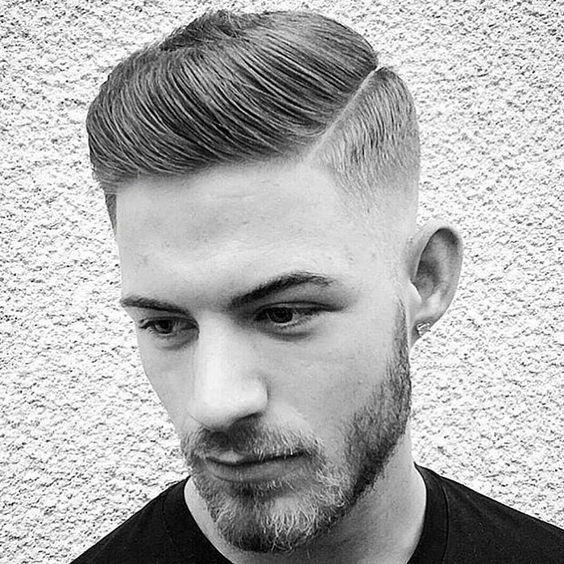 Medium Slicked Pomp High Fade Hairstyle...