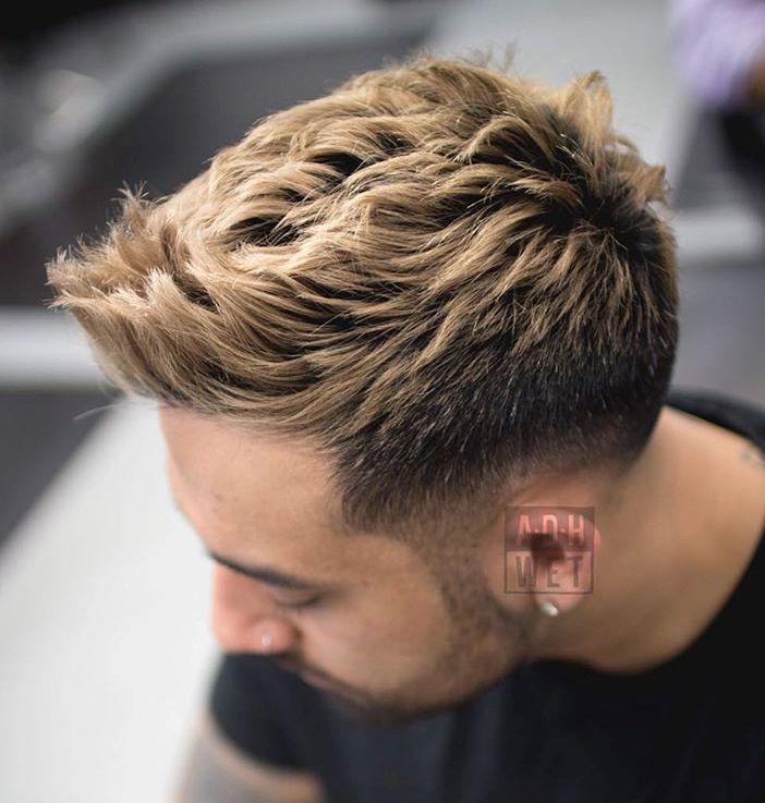 Spiky Blonde Taper Cut...