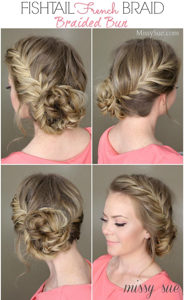 Fishtail French Braided Bun | 24 Perfect Prom Hairstyles | Makeup Tutorials Guid...