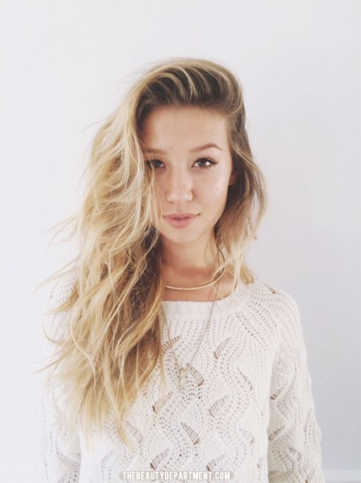 heavy side part with messy waves via the beauty department...