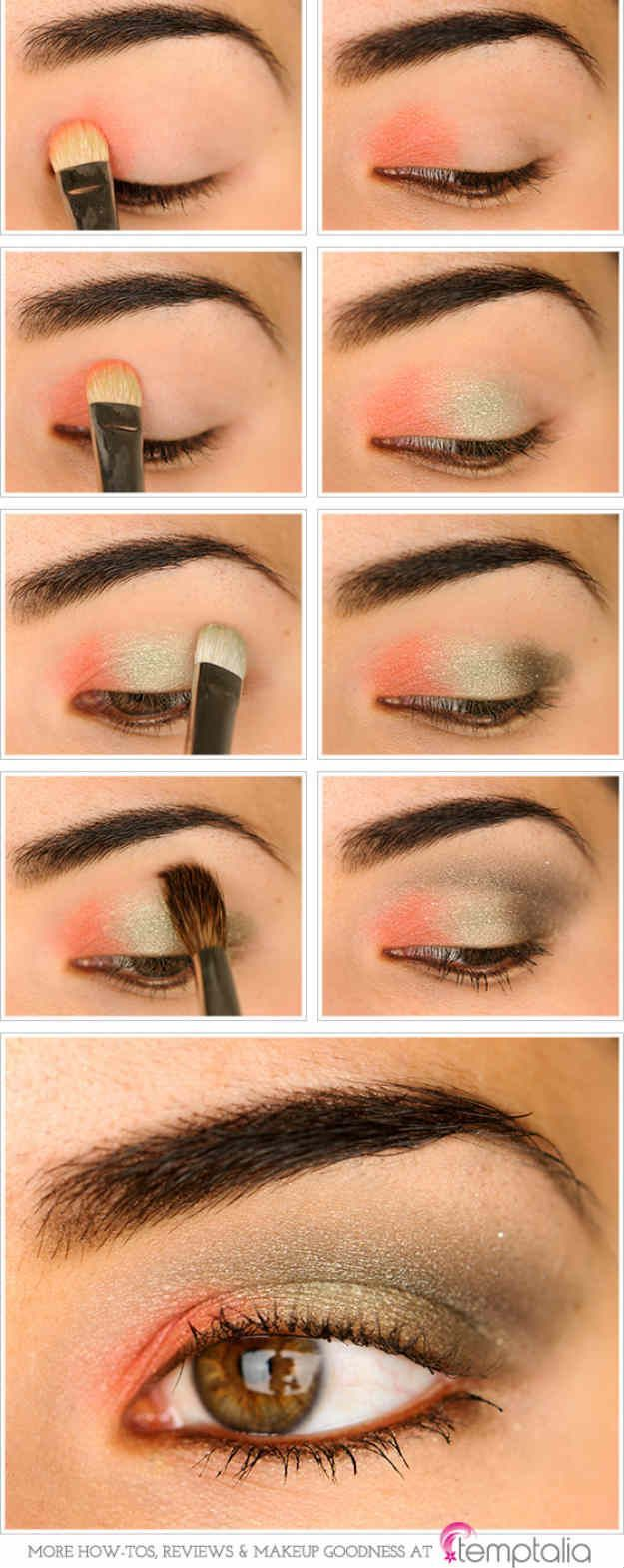 Coral and Olive Eyes | Eyeshadow For Brown Eyes | Makeup Tutorials Guide...