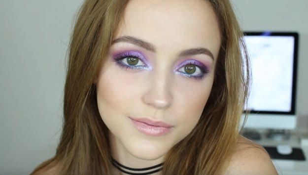 Iridescent Purple and Blue   Easy Eye Makeup For Green Eyes   Makeup Tutorials G...