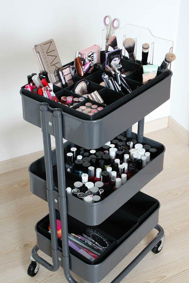 Rolling Cart | 13 Fun DIY Makeup Organizer Ideas For Proper Storage...
