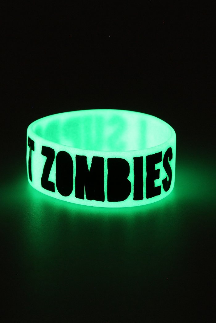 Support Zombies Glow-In-The-Dark Rubber Bracelet | Hot Topic