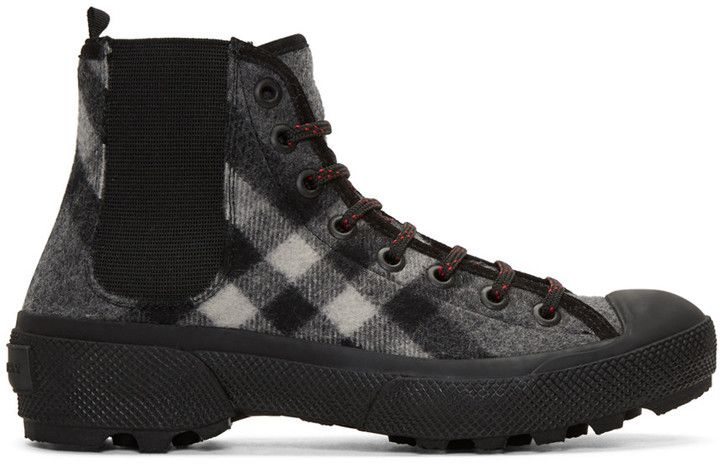 Burberry Grey Check Oven Boots...