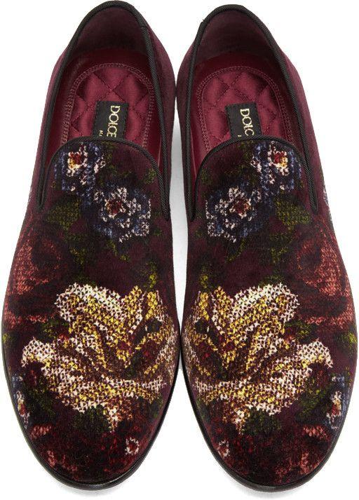 Dolce & Gabbana - Burgundy Velvet Floral Loafers...