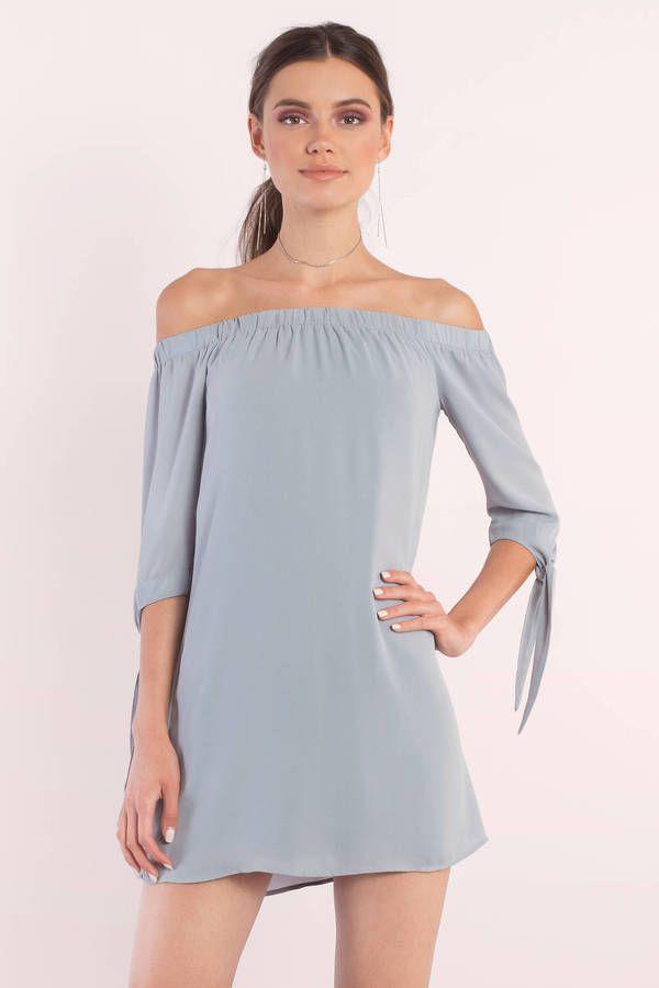 "c6a806cd801 Search ""Jeanie Vintage Blue Shift Dress"" on Tobi.com! off the shoulder 3 4  sleeve tie knot detail mini dress short minidress grey blue dusty  ShopTobi  ..."