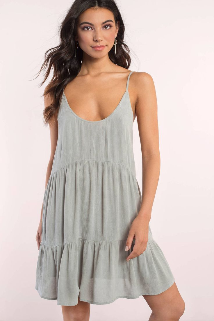 """ee2be9ba9e0 Search """"Love Game Olive Shift Dress"""" on Tobi.com! cami strap tiered ruched  slip dress minidress casual day dress graduation dress vacation spring  summer ..."""