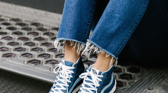 0b176c6c61bce Trendy Women s Sneakers   Madewell x Vans® Sk8-Hi Slim High-Top Sneakers in  Denim - Fashion Inspire