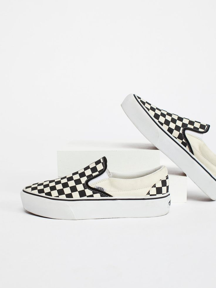 Vans Black / White Checker Classic Platform Slip-On Sneaker at Free People Cloth...