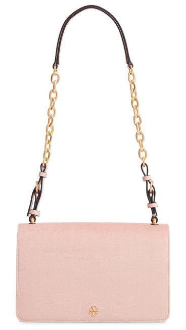 sadie velvet shoulder bag by Tory Burch. A clean-lined shoulder bag gets a boost...