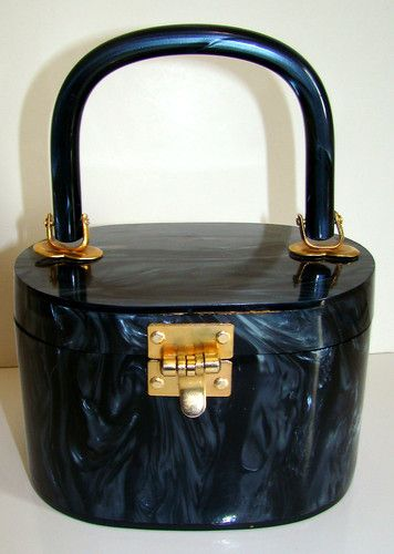 1960s STYLECRAFT Black Pearl Lucite Handbag Purse   eBay