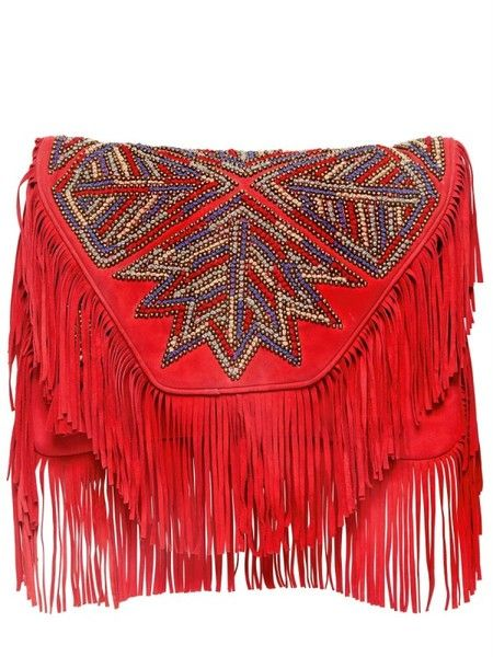 Antik Batik Red Large Canada Embroidered Suede Clutch