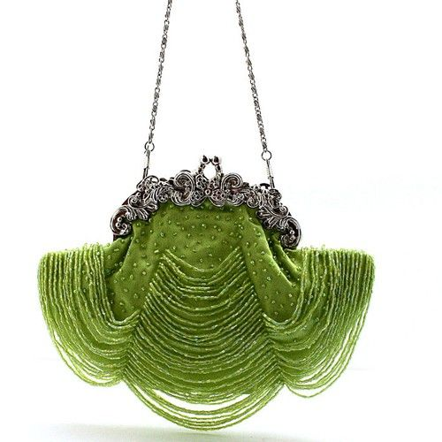 Green curtain beaded bag that is a work of art....