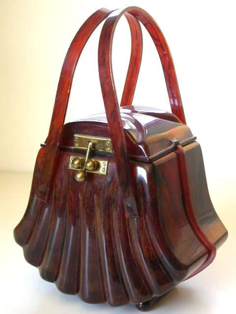 Lucite Fan Shaped 1950s Handbag - Made by Ranhill Corp. - @~ Watsonette....