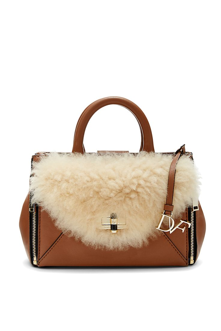Mini Secret Agent Leather And Shearling Tote