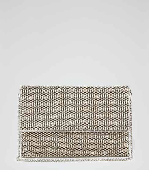 Minty Silver Embellished Fold Over Clutch - REISS