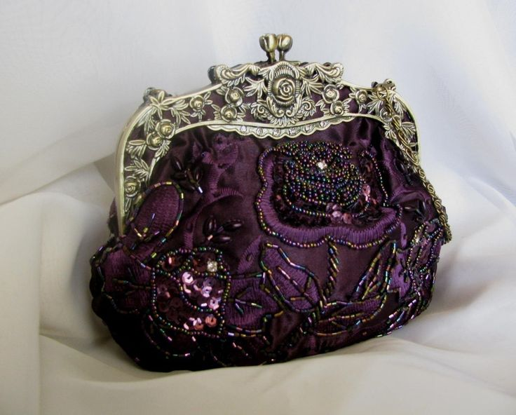 Vintage Design Royal Purple Sequin Glass Bead Handbag