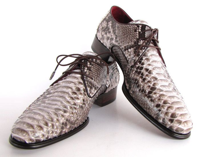 Paul Parkman Men's Gray & Brown Genuine Python (snakeskin) Derby Shoes - 11 Main