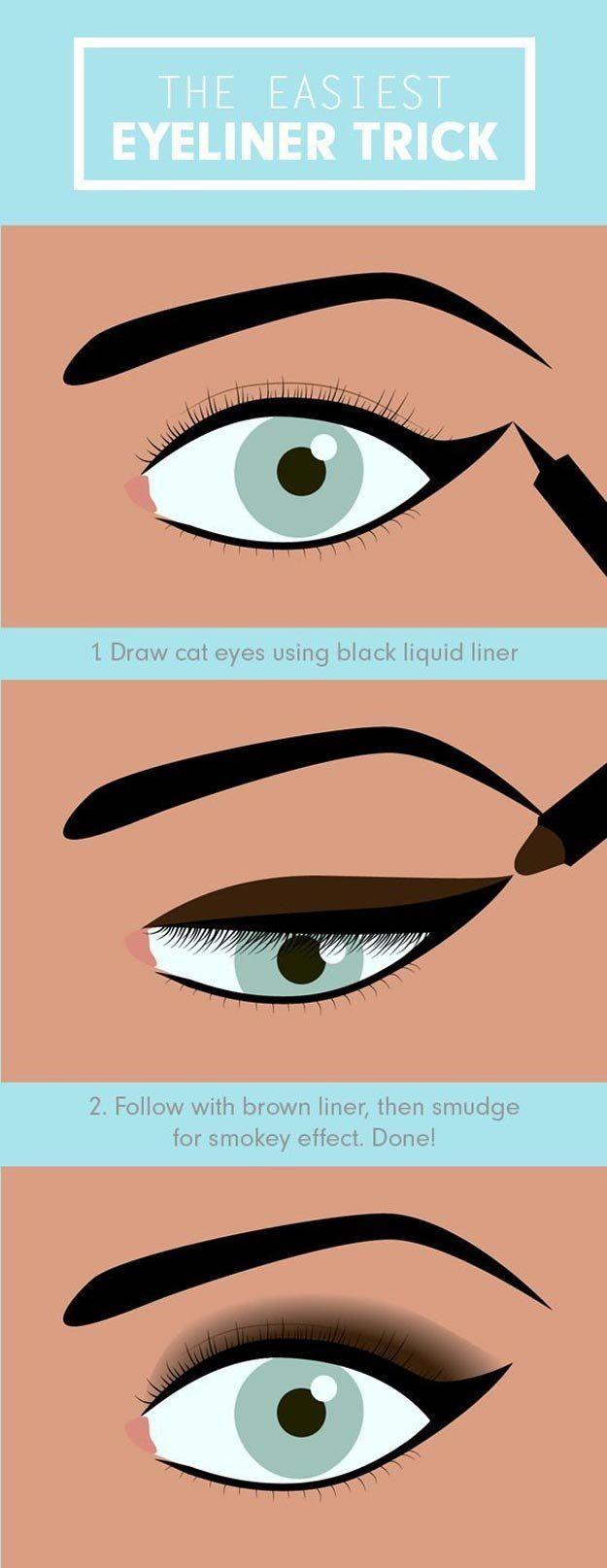 6. Easiest Eyeliner Trick | 17 Great Eyeliner Hack for Makeup Junkies | Makeup T...