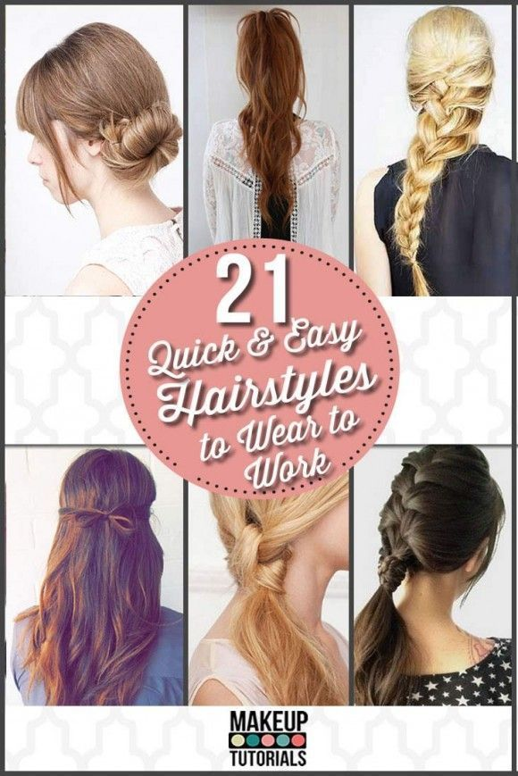 Easy Hairstyles for Work | Quick DIY Hairstyles by Makeup Tutorials at http:/mak...