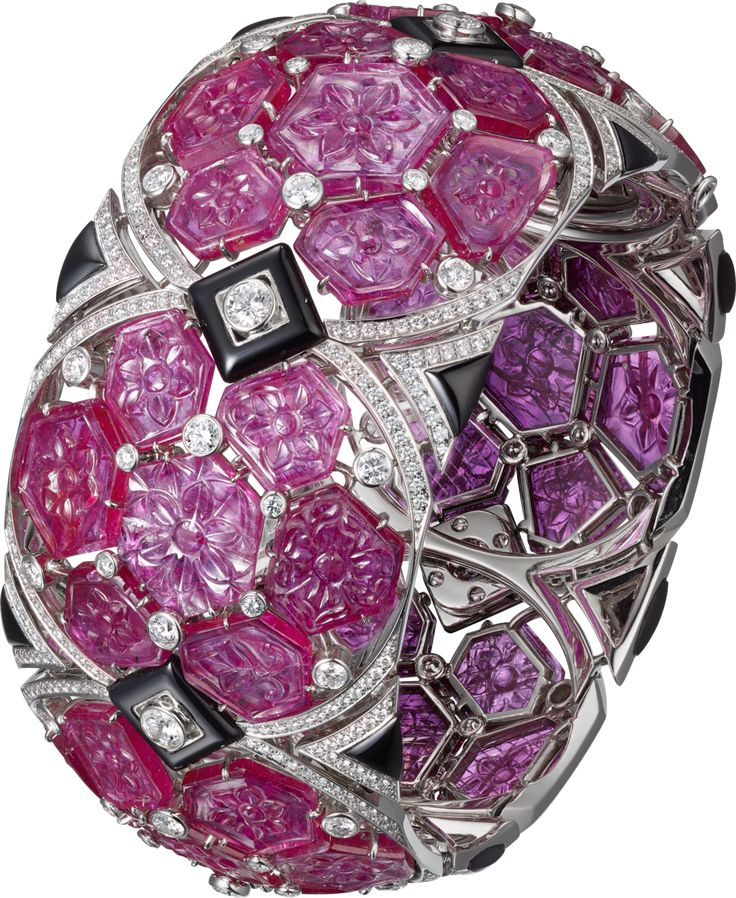 CARTIER. Bracelet - platinum, carved rubies, onyx, brilliant-cut diamonds. #Cart...