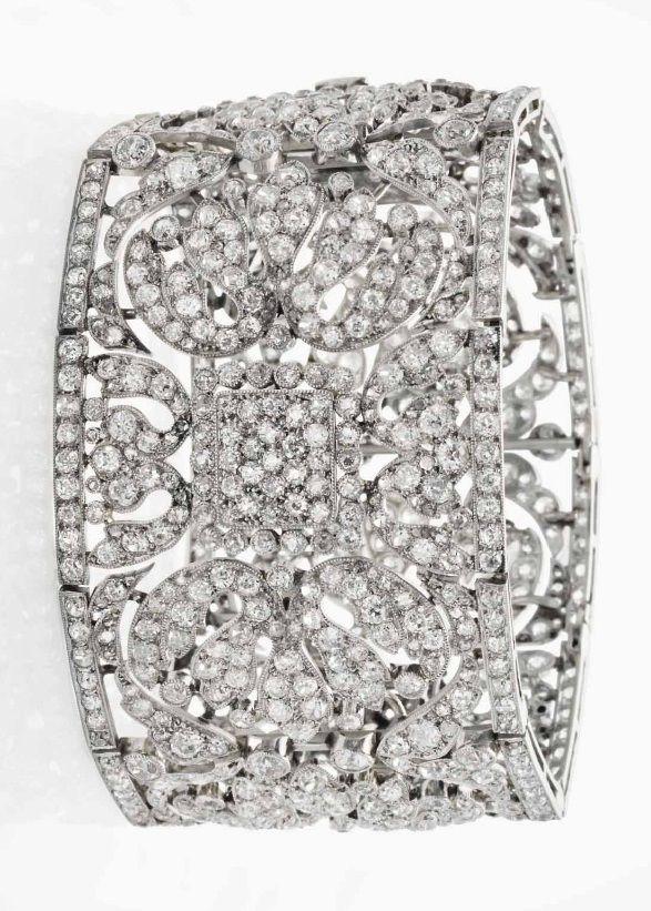 A BELLE EPOQUE diamond bracelet. Semi- flexible, openwork bracelet composed of g...