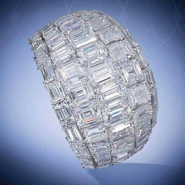 A magnificent emerald-cut diamond cuff with a total weight of 161.21 carats by @...