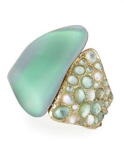 Alexis Bittar Vert d'Eau Lucite Side-Encrusted Hinge Bracelet