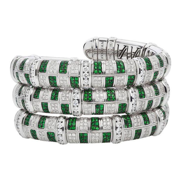 Avakian diamond and tsavorite Victory bracelet