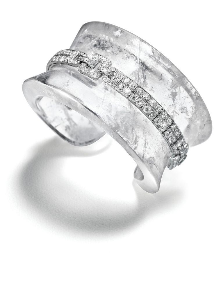 "Belperron ""Saddle"" series cuff No. 4, rock crystal, diamonds..."