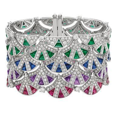 Bulgari sapphire, emerald and diamond cuff...