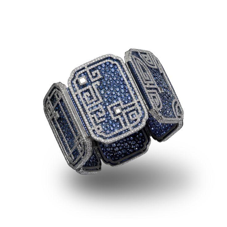 CARNET. A sapphire and diamond 'Azure Lattice' bracelet (=)