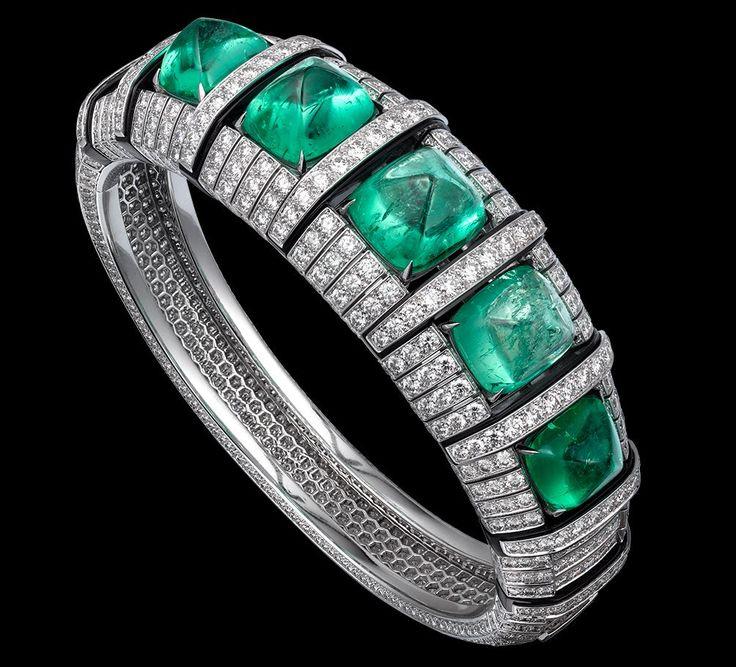 CARTIER. Bracelet - platinum, five cabochon-cut emeralds from Colombia totaling ...