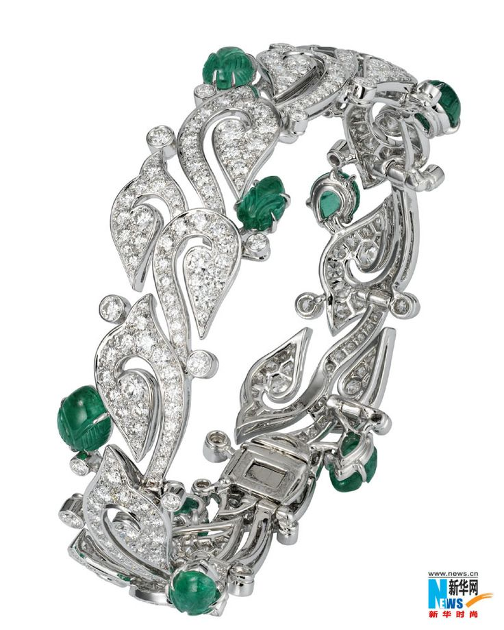 Cartier, Carved Emerald and Diamond Bracelet, great styled bracelet.. You dont s...