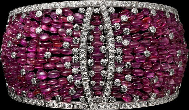 "Cartier. ""Disa"" Bracelet - white gold, ruby beads, brilliant-cut diamo..."