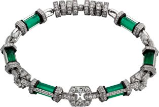 CARTIER HIGH JEWELRY NECKLACE Platinum, emerald, lacquer, onyx, diamonds...