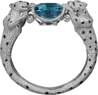 Cartier Platinum, onyx, emeralds, aquamarine, diamonds